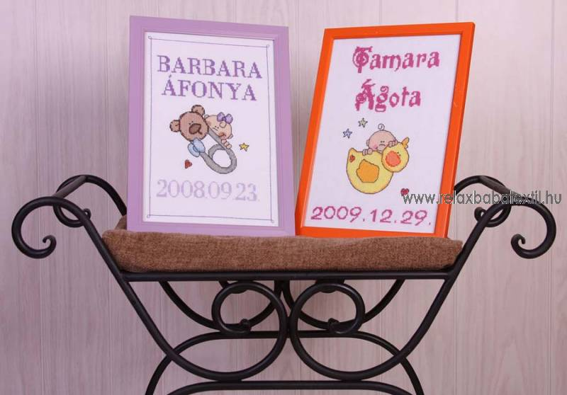RELAX Baba keresztszemes kép - névvel, születési dátummal
