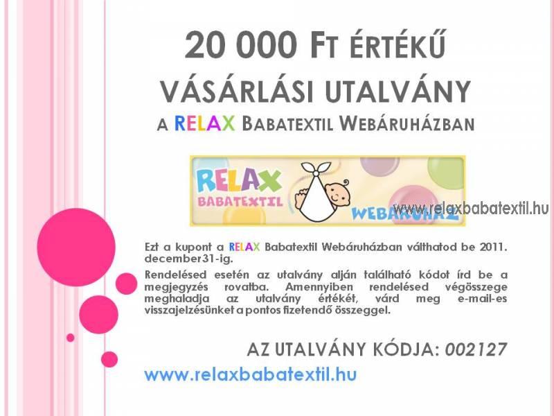 RELAX Babatextil vásárlási utalvány 20 000 Ft értékben