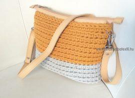 Mustár/szürke horgolt crossbody táska