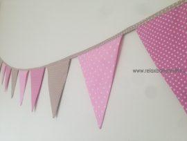 Zászló girland - Bézs/Rózsaszín